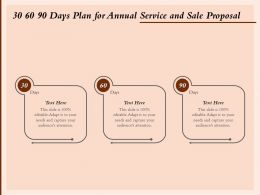 30 60 90 Days Plan For Annual Service And Sale Proposal Ppt Powerpoint Presentation Deck