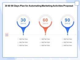 30 60 90 Days Plan For Automating Marketing Activities Proposal Ppt Model