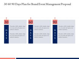 30 60 90 Days Plan For Brand Event Management Proposal Ppt Powerpoint Download