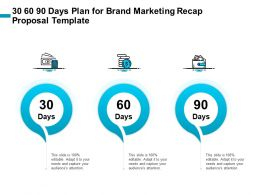 30 60 90 Days Plan For Brand Marketing Recap Proposal Template Ppt File Elements