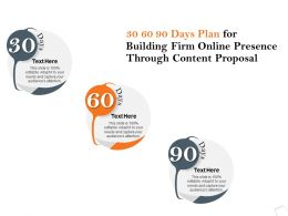 30 60 90 Days Plan For Building Firm Online Presence Through Content Proposal Ppt Slides