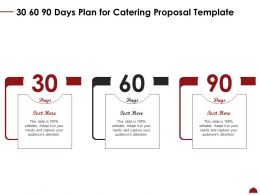 30 60 90 Days Plan For Catering Proposal Template Ppt Powerpoint Icon Elements