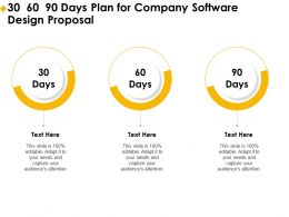 30 60 90 Days Plan For Company Software Design Proposal Ppt File Aids