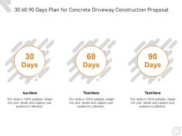 30 60 90 Days Plan For Concrete Driveway Construction Proposal Ppt Powerpoint Presentation Files