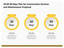 30 60 90 Days Plan For Construction Services And Maintenance Proposal Ppt Clipart