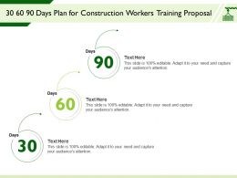 30 60 90 Days Plan For Construction Workers Training Proposal Attention Ppt Powerpoint Presentation Sample