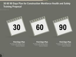 30 60 90 Days Plan For Construction Workforce Health And Safety Training Proposal Ppt File Design