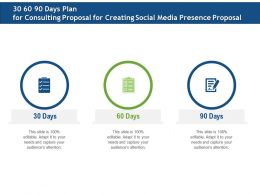 30 60 90 Days Plan For Consulting Proposal For Creating Social Media Presence Proposal Ppt Templates