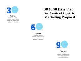 30 60 90 Days Plan For Content Centric Marketing Proposal Ppt Powerpoint Presentation Shapes