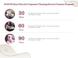 30 60 90 Days Plan For Corporate Cleaning Service Contract Proposal Ppt Powerpoint Slides