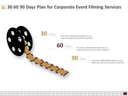 30 60 90 Days Plan For Corporate Event Filming Services Ppt File Brochure