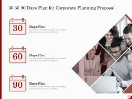 30 60 90 Days Plan For Corporate Planning Proposal Ppt Powerpoint Inspiration