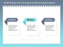 30 60 90 Days Plan For Corporate Sponsorship Proposal Ppt Powerpoint Example