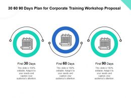 30 60 90 Days Plan For Corporate Training Workshop Proposal Ppt Powerpoint Gallery