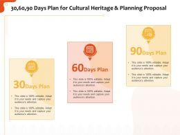 30 60 90 Days Plan For Cultural Heritage And Planning Proposal Ppt File Aids