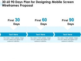 30 60 90 Days Plan For Designing Mobile Screen Wireframes Proposal Ppt Powerpoint Designs