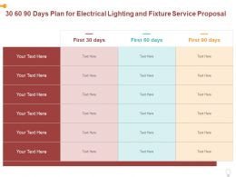 30 60 90 Days Plan For Electrical Lighting And Fixture Service Proposal Ppt Powerpoint Presentation Slides Outline