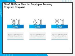 30 60 90 Days Plan For Employee Training Program Proposal Audiences Attention Ppt Styles Icon