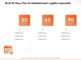 30 60 90 Days Plan For Entertainment Logistics Specialist N116 Ppt Powerpoint Presentation Graphics