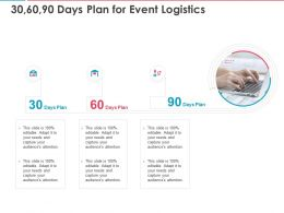30 60 90 Days Plan For Event Logistics Ppt Powerpoint Presentation Ideas Templates