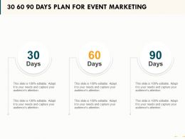 30 60 90 Days Plan For Event Marketing Ppt Powerpoint Presentation Styles Display