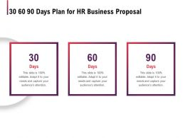 30 60 90 Days Plan For HR Business Proposal Ppt Powerpoint Presentation Layouts