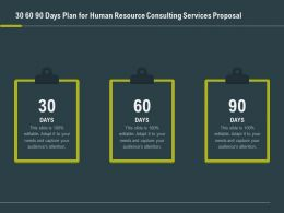 30 60 90 Days Plan For Human Resource Consulting Services Proposal Ppt Slide Visuals