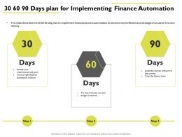 30 60 90 Days Plan For Implementing Finance Automation Identify Ppt Powerpoint Slideshow