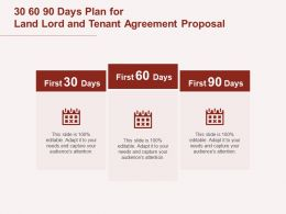 30 60 90 Days Plan For Land Lord And Tenant Agreement Proposal Ppt Powerpoint Presentation Model
