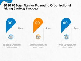 30 60 90 Days Plan For Managing Organizational Pricing Strategy Proposal Ppt Icon