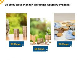 30 60 90 Days Plan For Marketing Advisory Proposal Ppt Powerpoint Model Slide