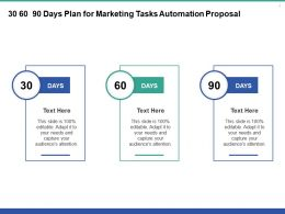 30 60 90 Days Plan For Marketing Tasks Automation Proposal Ppt Powerpoint Presentation Slides