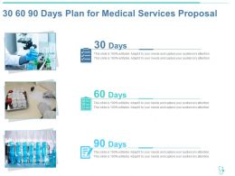 30 60 90 Days Plan For Medical Services Proposal Ppt Powerpoint Presentation Icon