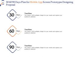 30 60 90 Days Plan For Mobile App Screen Prototypes Designing Proposal Ppt Picture