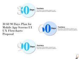 30 60 90 Days Plan For Mobile App Screens UI UX Flowcharts Proposal Capture Ppt Presentation Good