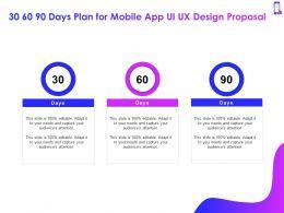 30 60 90 Days Plan For Mobile App Ui UX Design Proposal Ppt Powerpoint Presentation Good