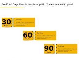 30 60 90 Days Plan For Mobile App UI UX Maintenance Proposal Ppt Topics