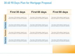 30 60 90 Days Plan For Mortgage Proposal Ppt Powerpoint Presentation Slides Graphics