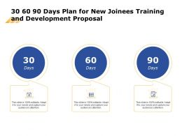 30 60 90 Days Plan For New Joinees Training And Development Proposal Ppt Templates