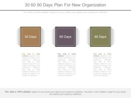 30 60 90 Days Plan For New Organization Ppt Slides