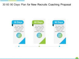 30 60 90 Days Plan For New Recruits Coaching Proposal Ppt Powerpoint Presentation Model