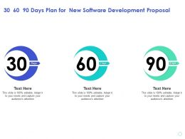 30 60 90 Days Plan For New Software Development Proposal Audience Ppt Presentation Sample