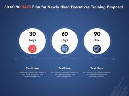 30 60 90 Days Plan For Newly Hired Executives Training Proposal Ppt Powerpoint Presentation Show
