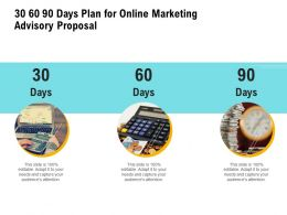30 60 90 Days Plan For Online Marketing Advisory Proposal Ppt Powerpoint Slides