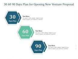 30 60 90 Days Plan For Opening New Venture Proposal Ppt Powerpoint Presentation Example