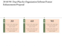 30 60 90 Days Plan For Organization Software Feature Enhancements Proposal Ppt Slides Files