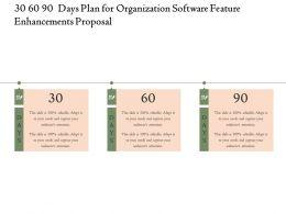 30 60 90 Days Plan For Organization Software Feature Enhancements Proposal Ppt Slides Files