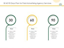 30 60 90 Days Plan For Paid Advertising Agency Services Ppt Powerpoint Presentation Slides