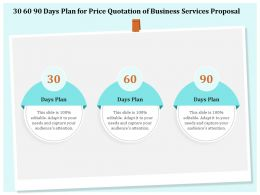 30 60 90 Days Plan For Price Quotation Of Business Services Proposal Ppt Clipart