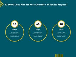 30 60 90 Days Plan For Price Quotation Of Service Proposal Ppt Topics